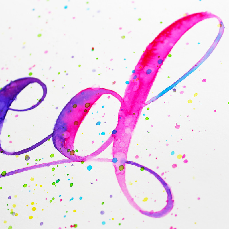 Faux watercolor lettering 005