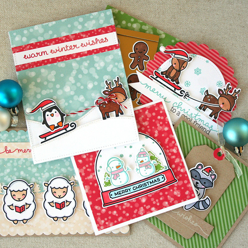 Festive holiday cards lawn fawn