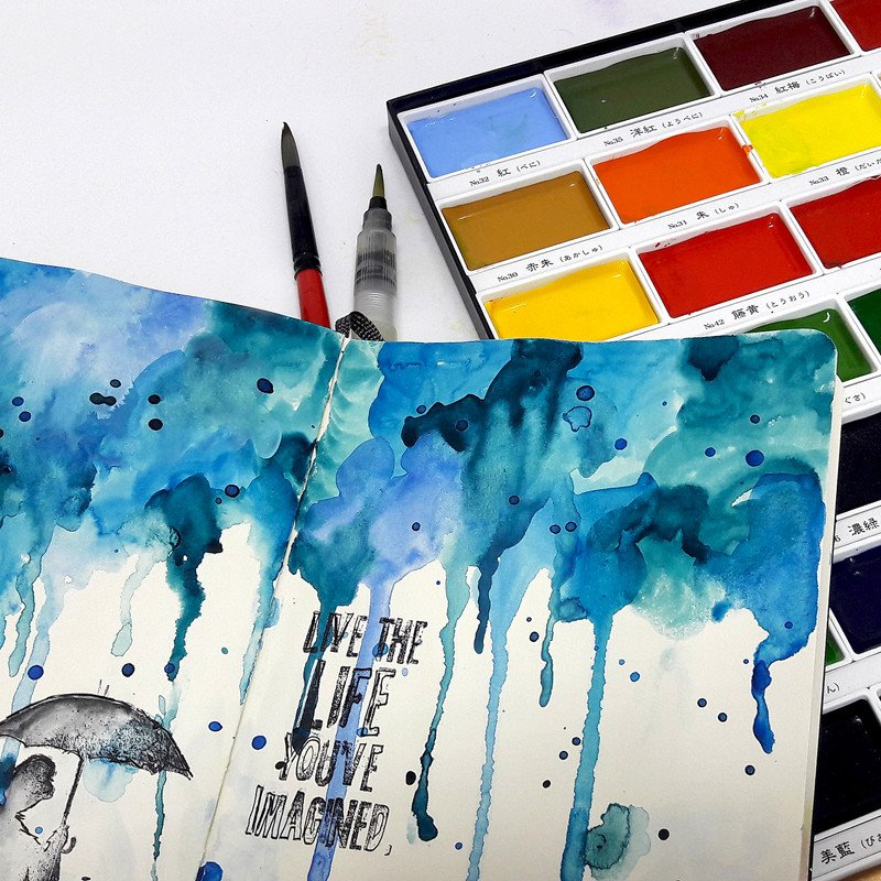 Watercolor art journaling marketing photo 7