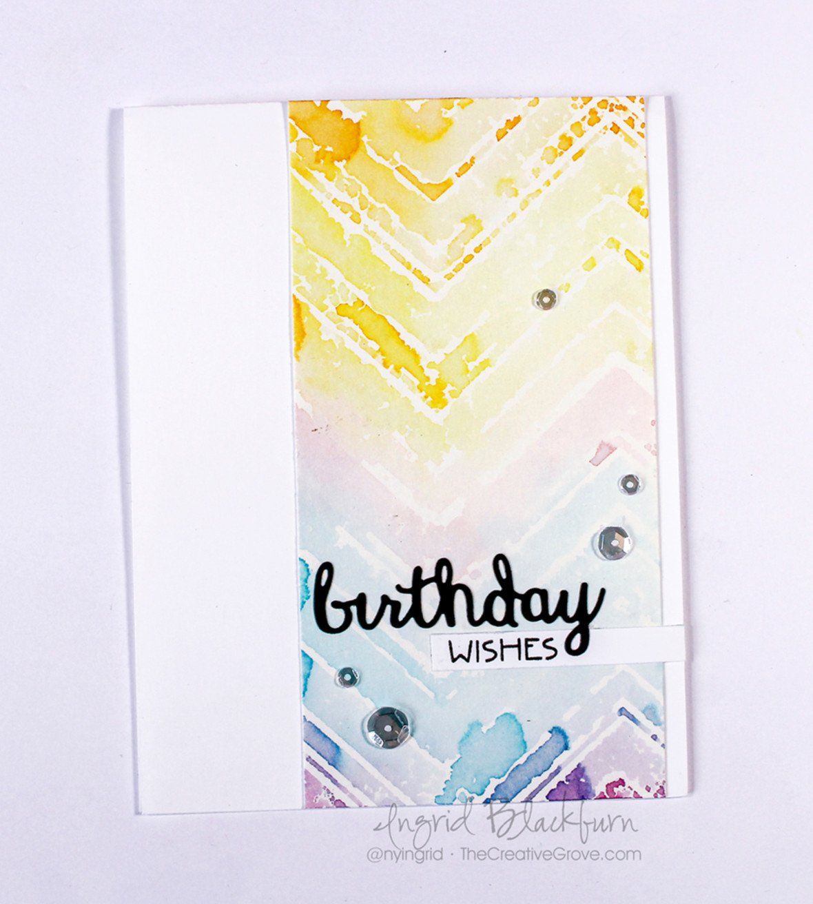 Skinny watercolor stenciled chevron 003 original