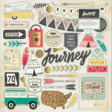 Journey chipboard gold foil accents stickers   image 1