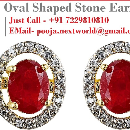 Oval shaped stud earrings set