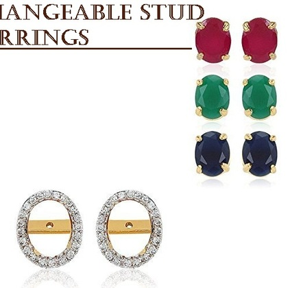 Oval shaped stone changeable stud